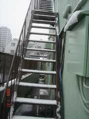 屋上への階段にも積もってます。クリックすると大きくなります。
