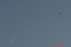 夕月と飛行機。クリックすると大きくなりますR1。