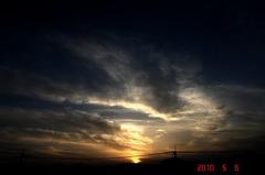 強風の中の屋上からの夕景。クリックすると大きくなりますR1。