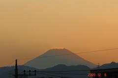 落日と富士山。クリックすると大きくなりますR1。