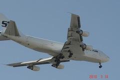 サザンエアーB−747着陸態勢。クリックすると大きくなりますR1。
