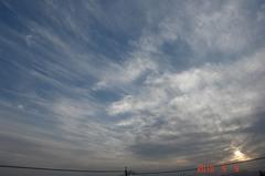 夕景の空、青い空と白い雲が綺麗でした。クリックすると大きくなりますR1。
